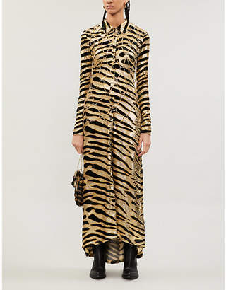 Paco Rabanne Tiger-print metallic maxi dress