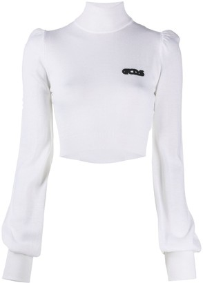 GCDS Cropped Roll-Neck Jumper