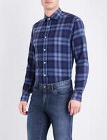 Ralph Lauren Purple Label Checked regular-fit brushed-cotton shirt