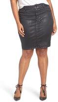 Melissa McCarthy Coated Denim Pencil Skirt (Plus Size)