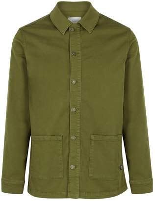 Les Deux Army Green Twill Overshirt