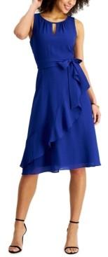 Jessica Howard Petite Crinkled Faux-Wrap Midi Dress