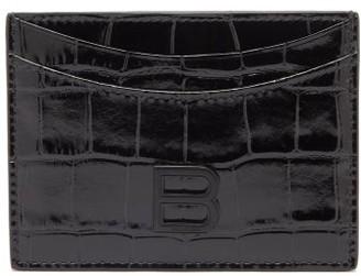 Balenciaga Hourglass Croc-effect Patent Leather Cardholder - Black