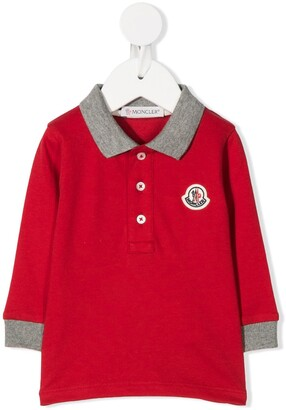 Moncler Enfant Logo-Patch Long Sleeved Polo Shirt