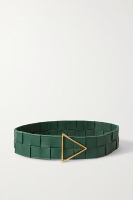 Bottega Veneta Intrecciato Leather Waist Belt - Green