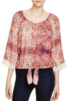Cupio Printed Tie-Front Blouse