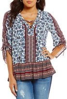 Democracy Printed Ruched 3/4 Sleeve Drop Waist Flounce Blouse