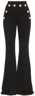 Balmain Button-embellished Flared Pants Black
