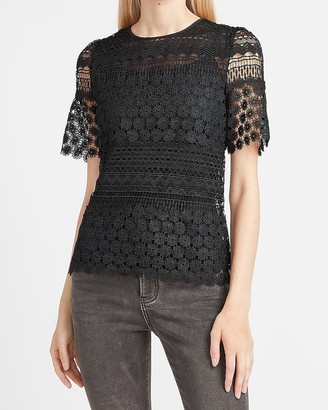 Express Lace Puff Sleeve Crew Neck Top