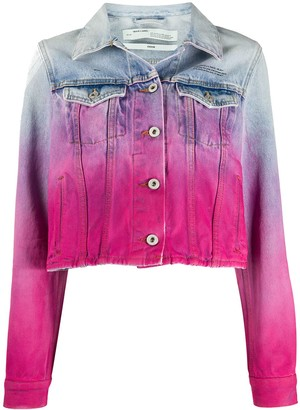 Off-White Spray Paint-Effect Denim Jacket