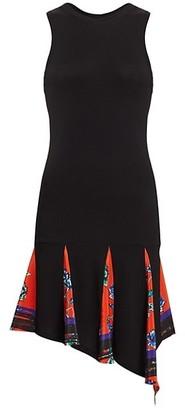 Derek Lam 10 Crosby Dropped-Waist Pleated Floral Tank Dress