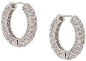 Numbering Pave Hoop Earrings
