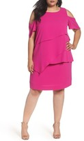 Tahari Plus Size Women's Asymmetrical Tier Cold Shoulder Shift Dress