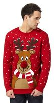 Red Herring Big And Tall Red Reindeer Print Jumper