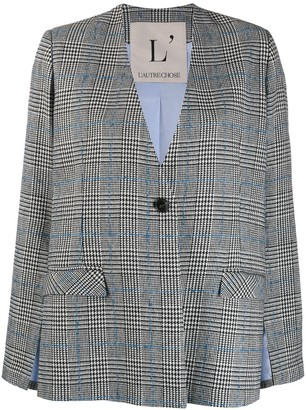 L'Autre Chose Check Cut-Out Sleeve Blazer