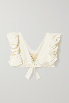 ARTCLUB Le Cercle Cropped Ruffled Cotton And Silk-blend Faille Top - Ivory