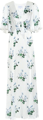 Les Rêveries Floral silk-satin maxi dress