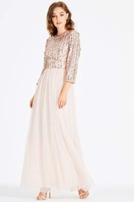 Little Mistress Jena Sequin Stripe Maxi Dress