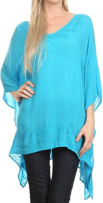 Sakkas K2022S - Wren Lightweight Circle Poncho Top Blouse with Detailed Embroidery - Turq - OS