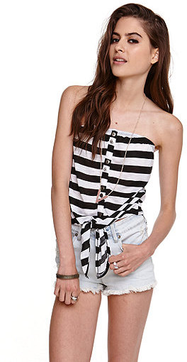 Kirra Striped Strapless Tie Front Tube Top
