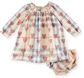 Burberry Amandine Long-Sleeve Heart & Check Shift Dress, Pale Pink, Size 3-24 Months