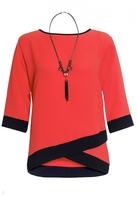 Quiz Curve Orange Contrast 3/4 Sleeve Necklace Top