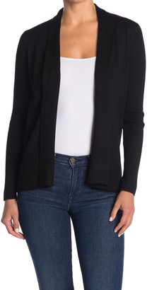 M Magaschoni Ribbed Shawl Collar Open Front Cardigan