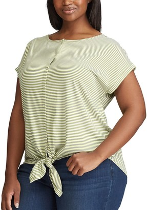 Chaps Plus Size Tie-Front Knit Top