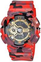 YLJHCYGG Military Mens Sport Camouflage Quartz Electronic LED Back Light Alarm Watch For Boys Red