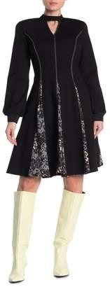 Gracia Contrast Stitch Cutout Flare Dress