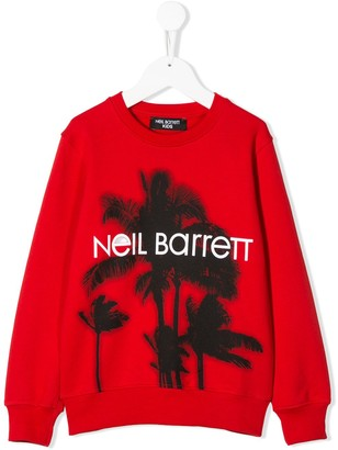 Neil Barrett Kids Long Sleeve Palm Tree Logo Sweater