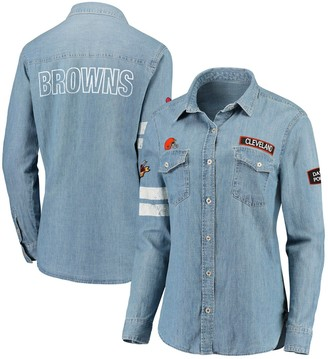 Unbranded Women's WEAR By Erin Andrews Denim Cleveland Browns Long Sleeve Button-Up Shirt