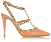 Valentino Rockstud Melon Sorbet & Powder Leather Ankle Strap Pump