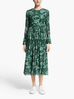 Nümph Nuaada Leaf Print Long Sleeve Midi Dress, Pondarosa