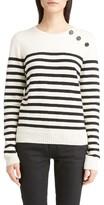 Saint Laurent Women's Button Detail Stripe Sweater