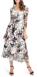 Komarov Lace Sleeve Charmeuse Midi Dress