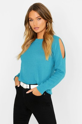 boohoo Cold Shoulder Moss Stitch Sweater