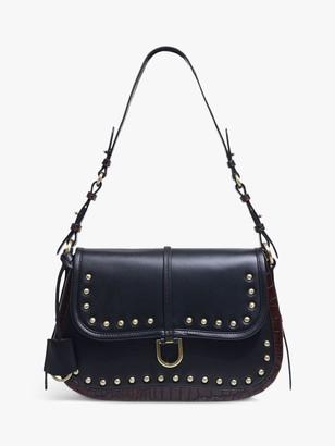 Radley Aubrey Walk Stud Leather Shoulder Bag, Black
