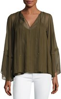 Haute Hippie Floral Tie-Neck Kimono-Sleeve Blouse, Olive