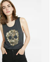 Express one eleven sequin skull muscle tank