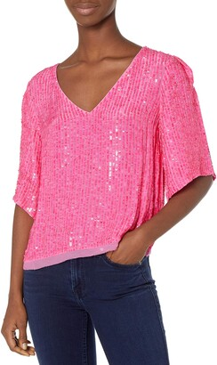 Velvet by Graham & Spencer Women's Karen Sequins V-Neck Shortsleeve Blouse