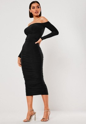 Missguided Black Bardot Slinky Ruched Bodycon Midaxi Dress