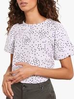 Mint Velvet Spot Puff Sleeve T-Shirt, White