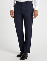 John Lewis Check Super 100s Wool Tailored Fit Suit Trousers, Navy