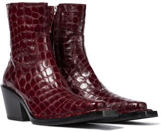 Acne Studios Croc-effect leather ankle boots