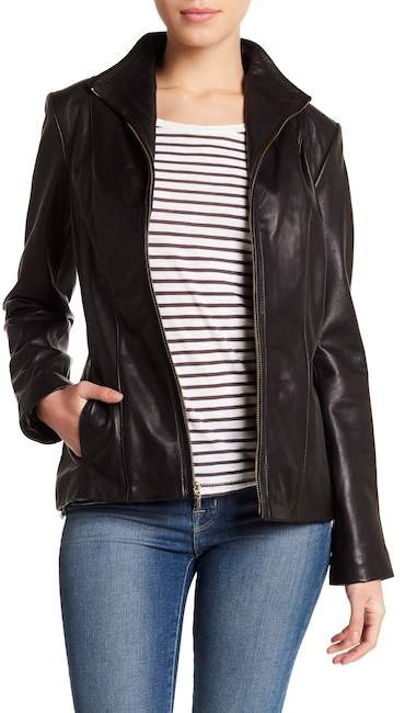 Cole Haan Zip-Up Lamb Leather Jacket