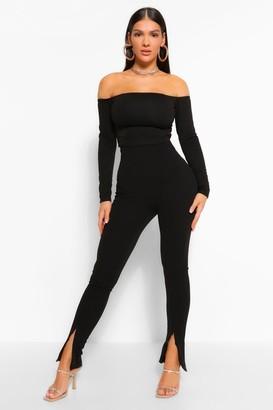 boohoo Zip Front Split Hem Skinny Trousers