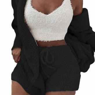Nmslc Women Fluffy Crop Top Teddy Coat Shorts Sets 3Pcs / Set Loungewear (X-Large