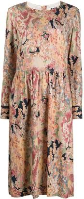 YMC Floral-Print Drop-Waist Midi Dress