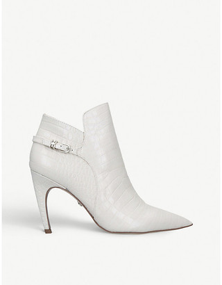 Sam Edelman Fiora croc-embossed leather stiletto-heel ankle boots